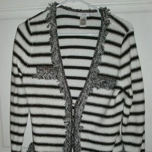 Sweaters - CACHE Striped Fringe Sweater sz M Cardigan Jacket